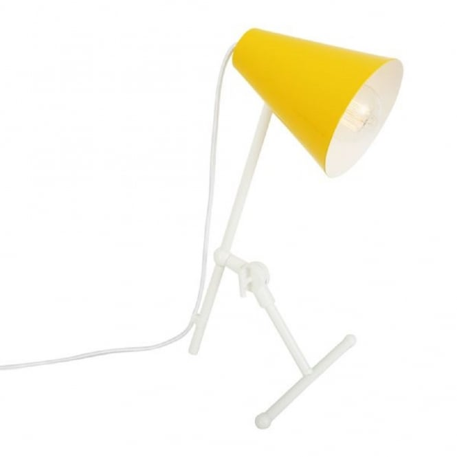 Monaghan Lighting SAMBIA adjustable and angled white desk lamp with funky yellow shade
