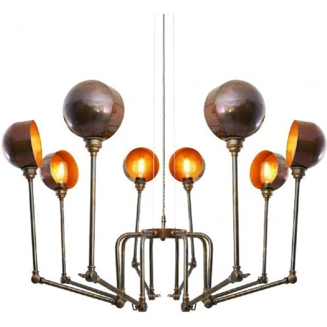 Monaghan Lighting SAN JOSE contemporary industrial inspired 8 light chandelier - antique brass