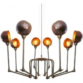 SAN JOSE contemporary industrial inspired 8 light chandelier - antique brass