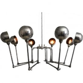 SAN JOSE contemporary industrial inspired 8 light chandelier - antique silver