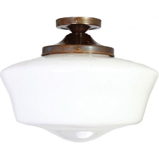old school house semi flush ceiling light opal glass bowl shade