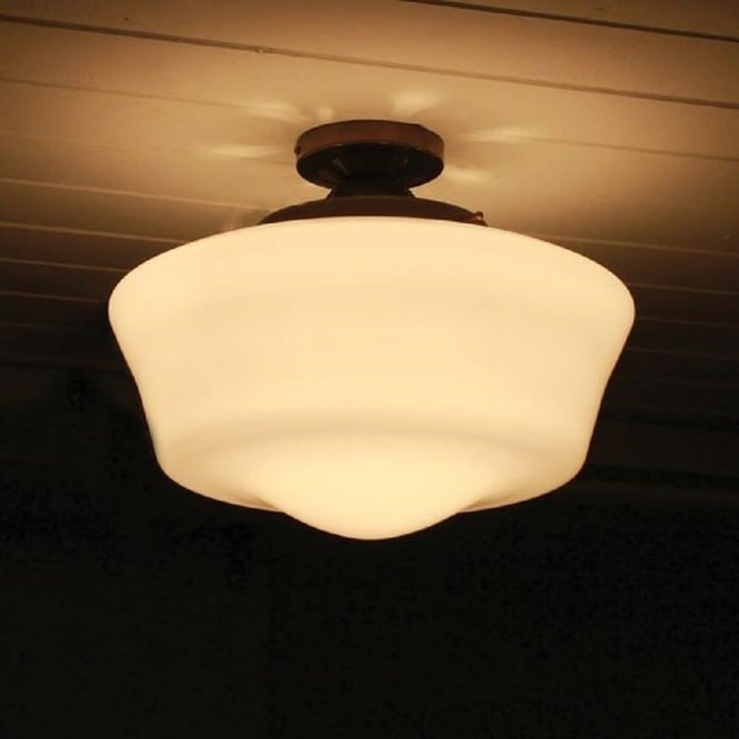 Old school house semi flush ceiling light opal glass bowl shade school house traditional 1920039s style semi flush fitting opal glass ceiling mozeypictures Gallery
