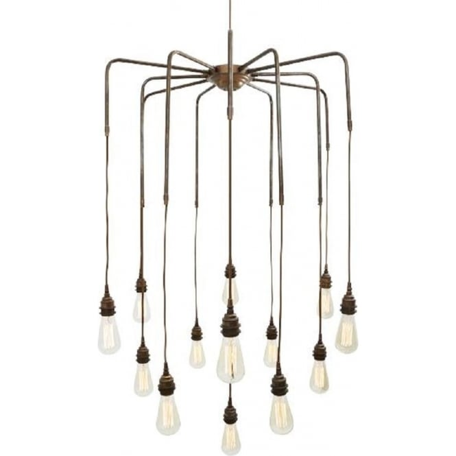 Cluster Of 13 Bare Bulb Hanging Pendant Lights On Antqiue