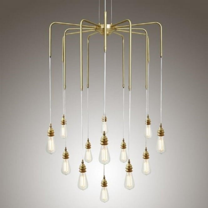 Cluster of bare bulb ceiling pendant lights hanging on gold framework sela large modern cluster of bare bulb hanging ceiling pendants polished brass mozeypictures Images