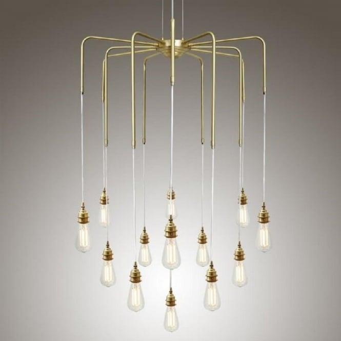 Cluster of bare bulb ceiling pendant lights hanging on gold framework sela large modern cluster of bare bulb hanging ceiling pendants polished brass aloadofball Images