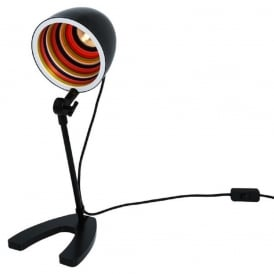 SERGEANT PEPPER funky desk lamp - black with multi-coloured inner shade