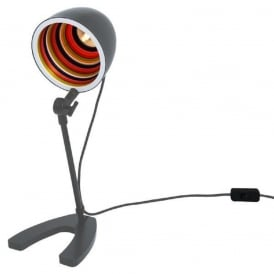 SERGEANT PEPPER funky desk lamp - grey with multi-coloured inner shade