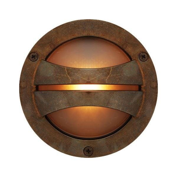 Ip44 Outdoor Wall Light In Antique Brass Circular