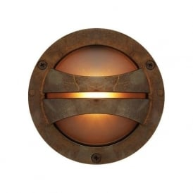 SERI circular surface mounted IP54 LED outdoor wall light - antique brass