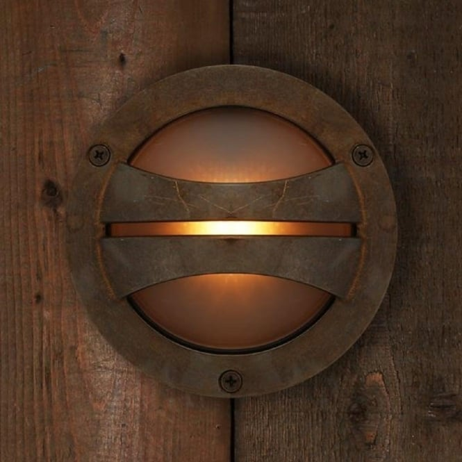 Seri Circular Surface Mounted Ip54 Led Outdoor Wall Light Antique Brass