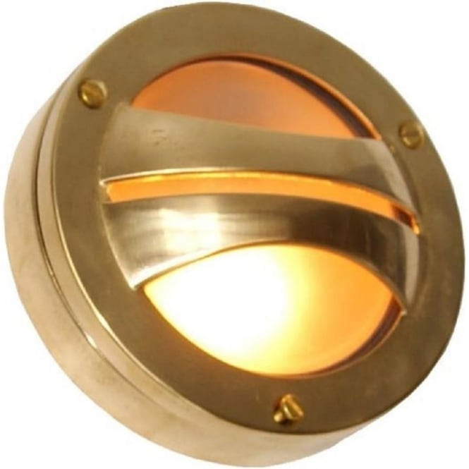Flush fitting outside wall light in satin brass with frosted glass seri circular surface mounted ip54 led outdoor wall light satin brass mozeypictures Gallery