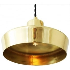 SPLENDOR contemporary polished brass ceiling pendant on braided cable