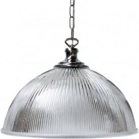 STENTON halophane glass ceiling pendant light on polished chrome fitting