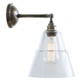 STRAFF traditional wall light with adjustable angled shade on antique silver fitting