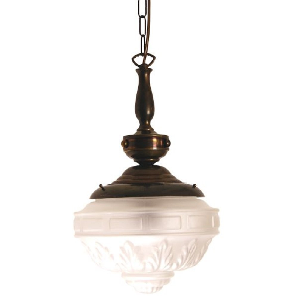 Victorian Or Edwardian Hall Light With Patterned Frosted Glass Shade