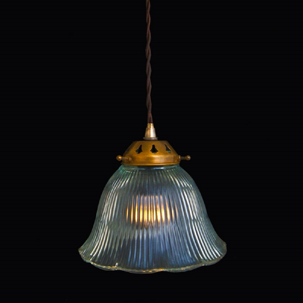 Clear Ribbed Glass Traditional Ceiling Pendant On Long Braided Cable