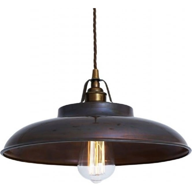 Monaghan Lighting TELAL factory style metal ceiling pendant light - antique brass