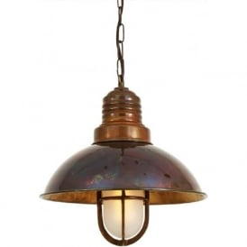 TIRANA nautical style deck pendant hanging ceiling light - antique brass