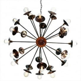 TOKYO SPUTNIK modern open frame 29 light chandelier - antique brass