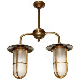 VELLA well glass double ceiling pendant light - antique brass fitting