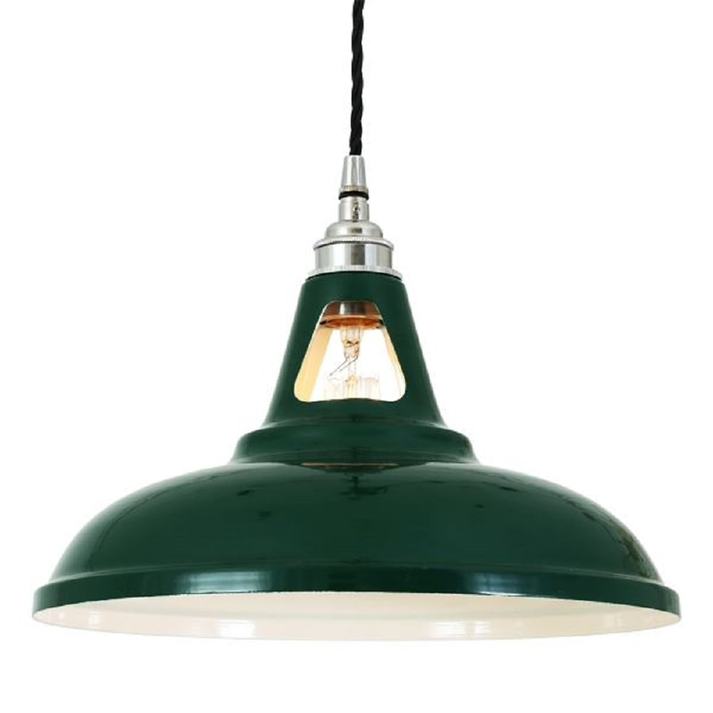 Ceiling Pendant Light, Vintage Factory Style Painted In