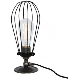 VOX industrial retro style cage table lamp or desk light - antique silver