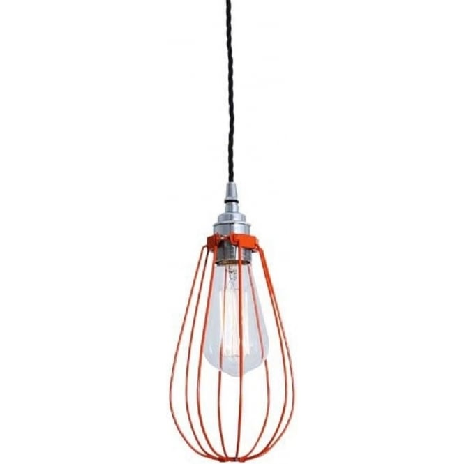 Orange Cage Ceiling Light Hanging On Vintage Braided Flex