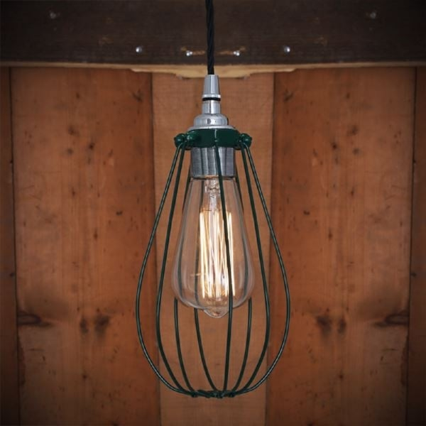 bathroom light pendant industrial factory style cage pendant light in green 10858