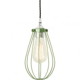 VOX sage green vintage industrial cage ceiling pendant light