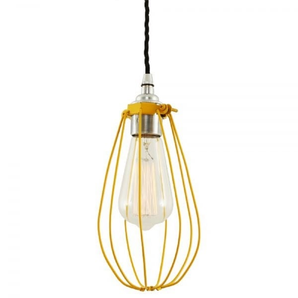 Cage Ceiling Pendant Light With Yellow Painted Cage And