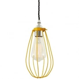 VOX yellow vintage industrial cage ceiling pendant light
