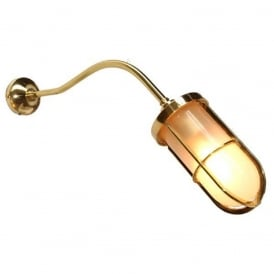WYBERT industrial design wall light with frosted well glass shade on polished brass fitting