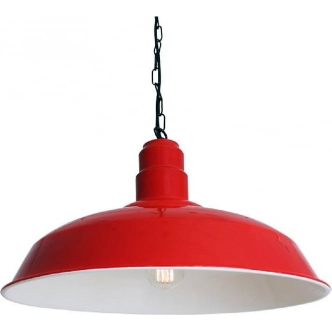 Wyse Large Metal Painted Factory Style Pendant Light Red