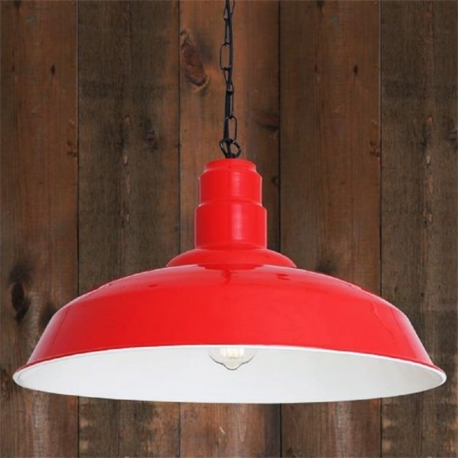 Large Red Aluminium Over Table Pendant Light Fitting with White Inner