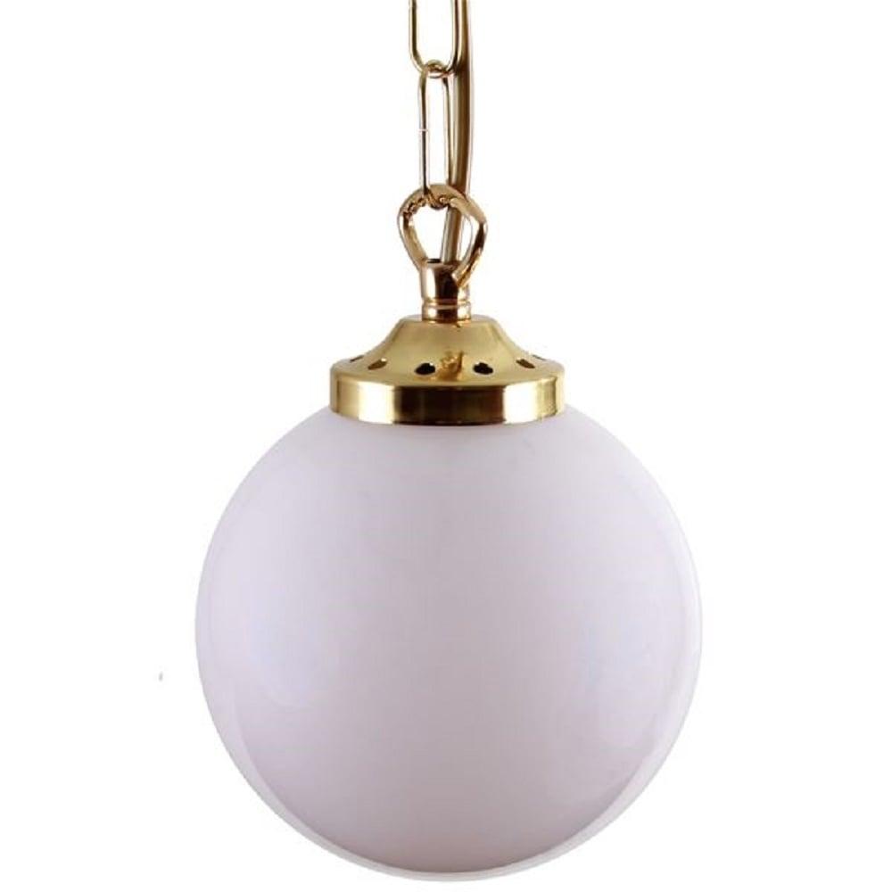 Art Deco Opal Globe Ceiling Pendant Light On Brass Chain
