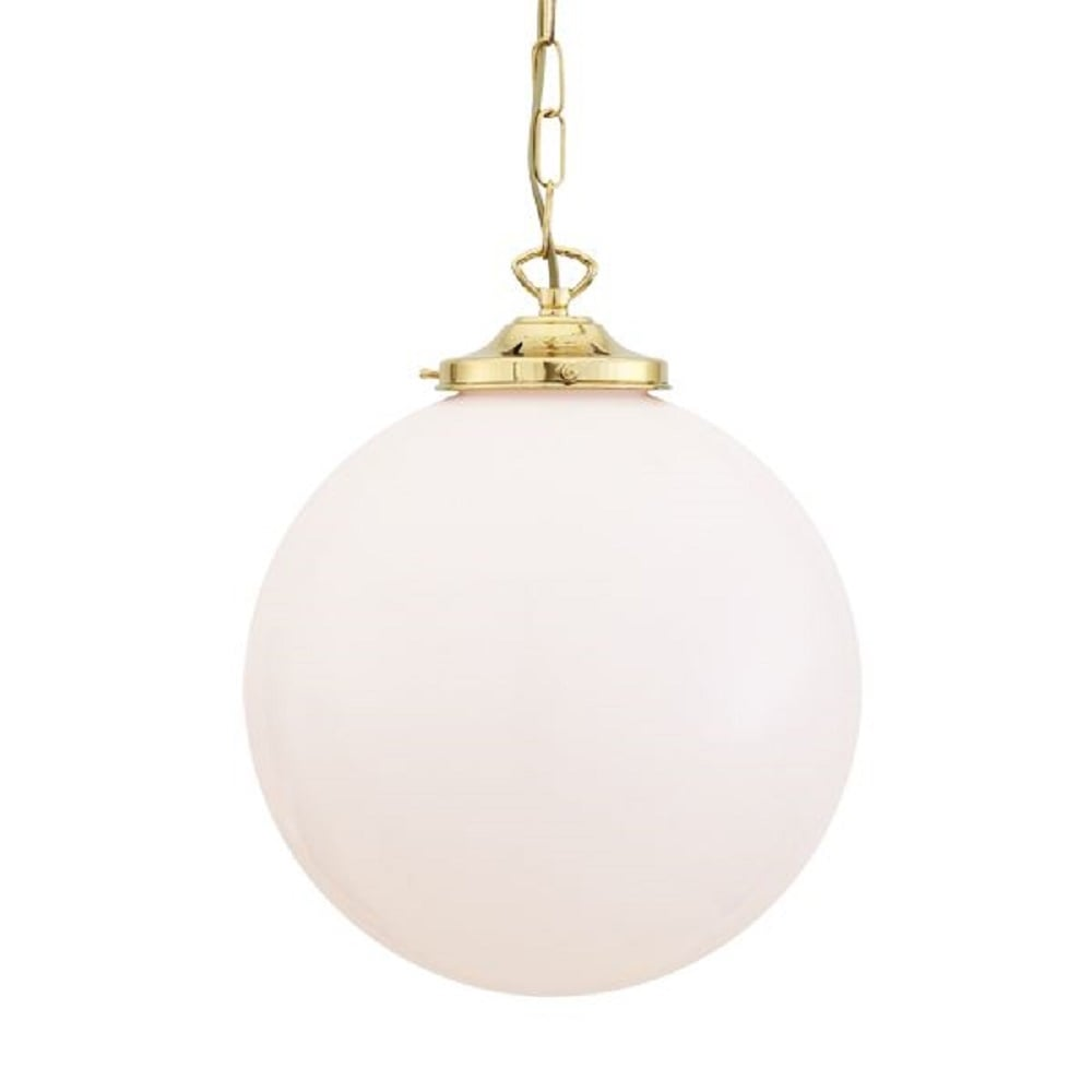 Ceiling Pendant Opal Globe Glass Shade On Choice Of Metal