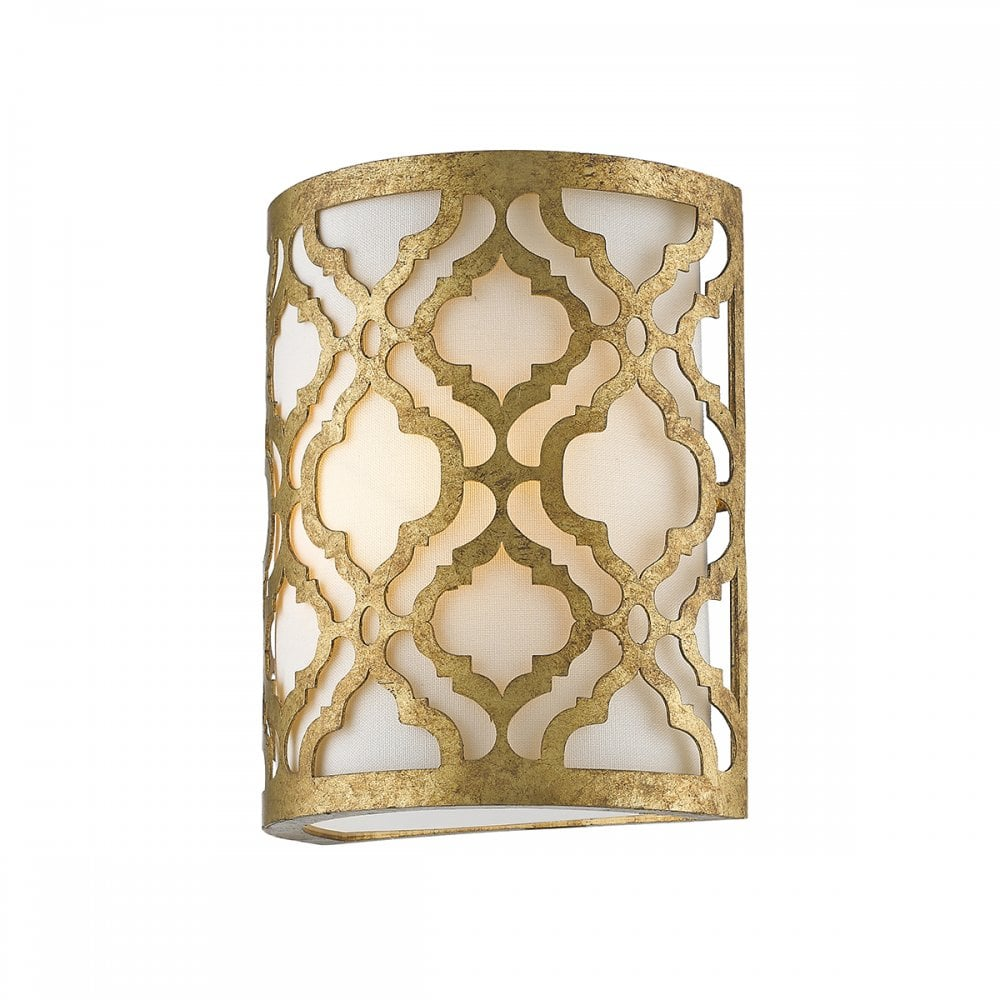 Curved Flush Fitting Wall Light With Distressed Gold Filigree Metalwork