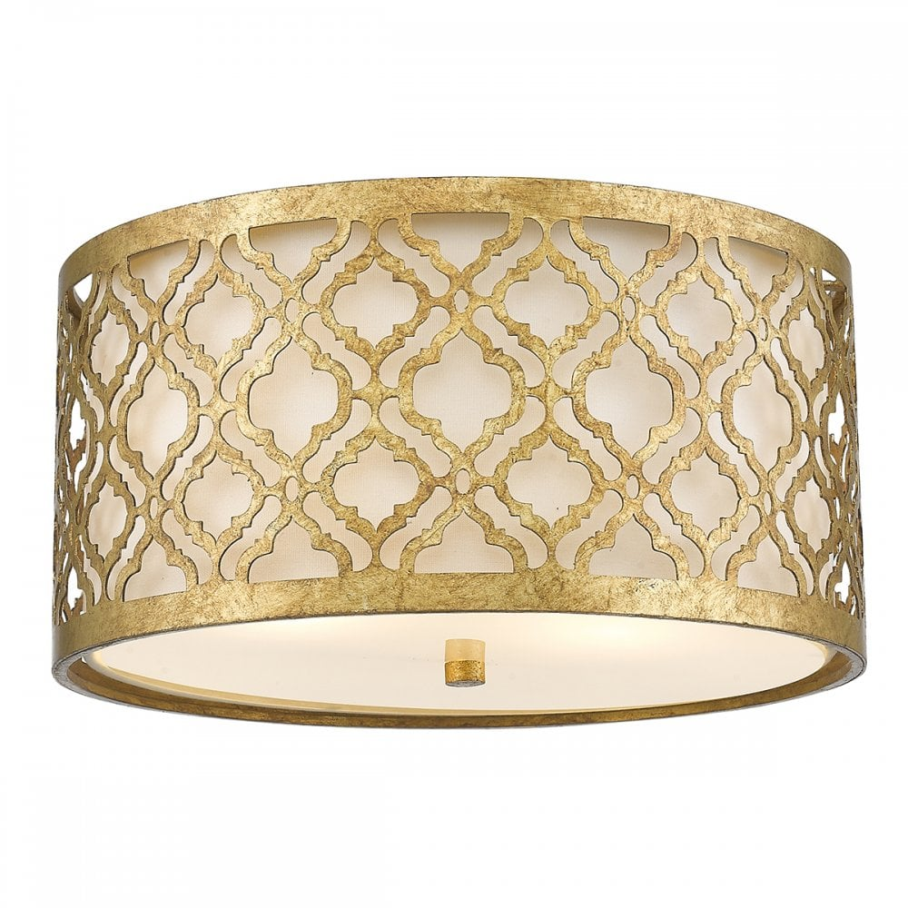 Flush Fit Low Ceiling Light In Distressed Gold Filigree With Cream Shade