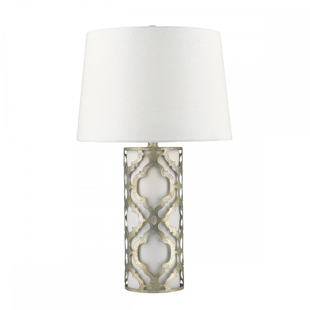 Cylindrical Table Lamp With Distressed Silver Detailing And Linen Shade