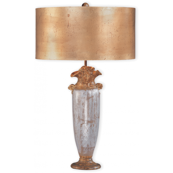 gold and silver tall urn shape table lamp with large gold drum shade. Black Bedroom Furniture Sets. Home Design Ideas