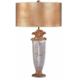 BIENVILLE designer gold and silver base table lamp with shade