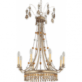 BON VIVANT French inspired decorative 8 light gilded chandelier