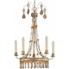 BON VIVANT French inspired shabby chic 5 light gilded chandelier