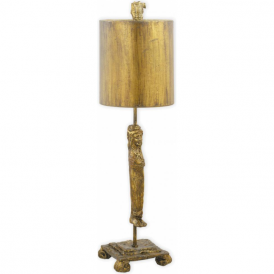 CARYATID sculptured gold leaf table lamp with shade