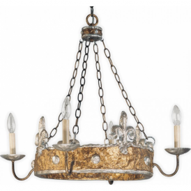 CROWN silver and gold hoop chandelier