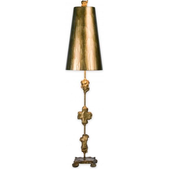 Designer gold leaf table lamp with cast artefact silhouettes on base fragment aged gold designer table lamp aloadofball Image collections