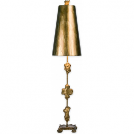 FRAGMENT aged gold designer table lamp