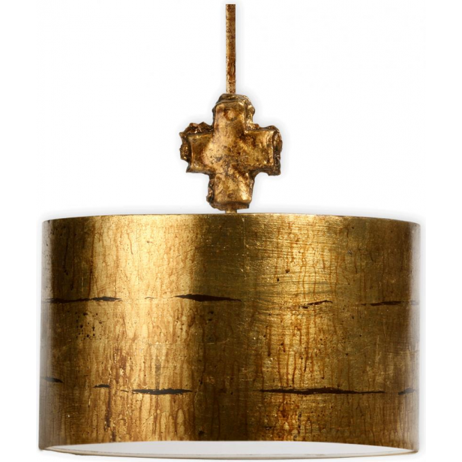 gold metal drum shade ceiling pendant light topped with fragment finial