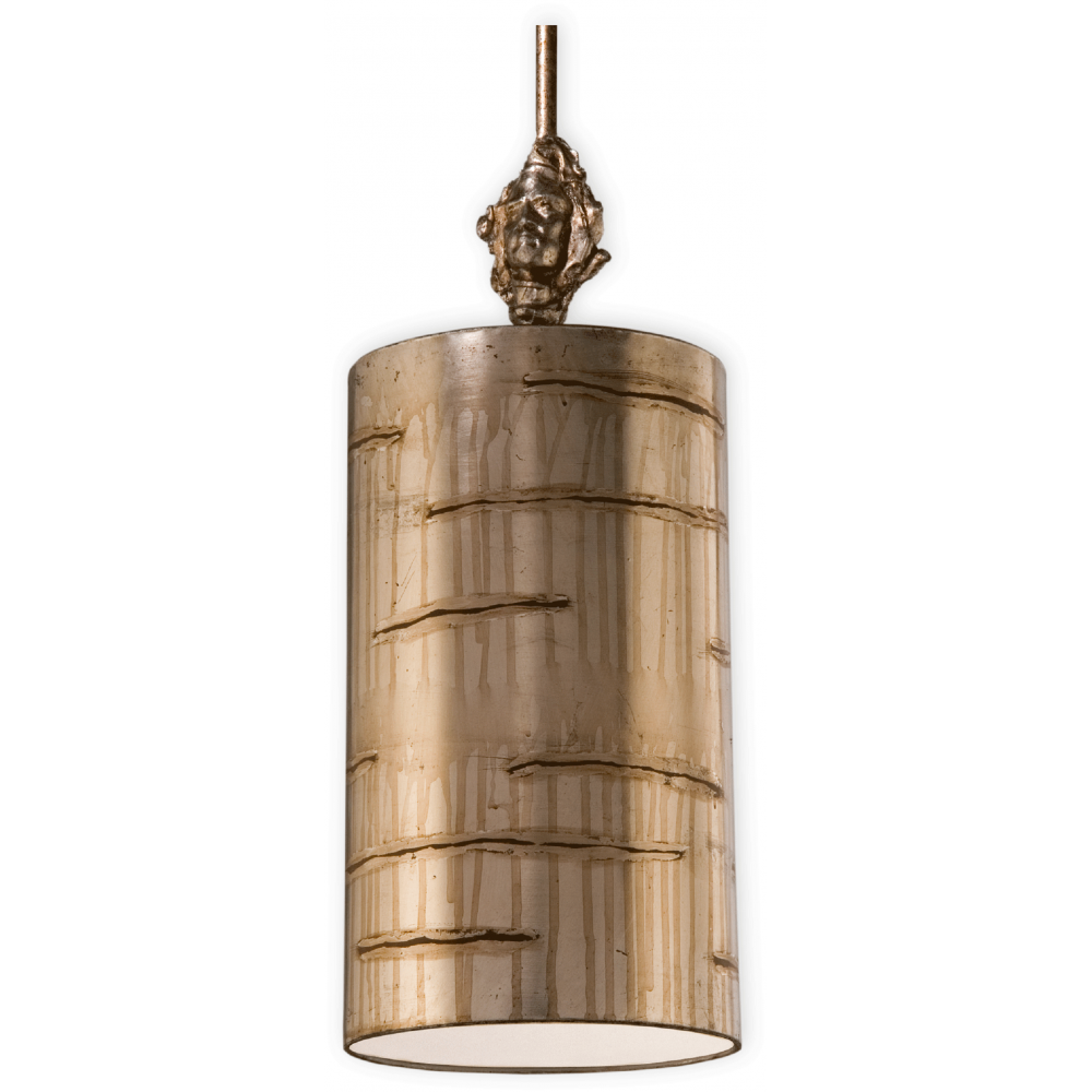 Silver leaf glazed metal ceiling pendant light for for Small hanging light fixtures