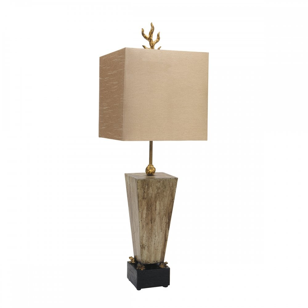 Umber Glazed Block Table Lamp With Gold Leaf Detailand Brown Shade